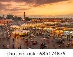 jamaa el fna market square ... | Shutterstock . vector #685174879