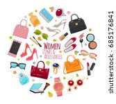 patch of fashion accessories.... | Shutterstock .eps vector #685176841