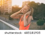 beautiful sporty woman... | Shutterstock . vector #685181935