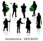 Silhouettes Of People In...