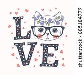 Cute Cat. Love Slogan. Vector...