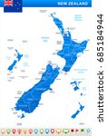 new zealand map vector | Shutterstock .eps vector #685184944