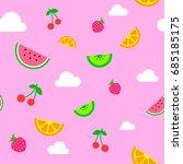 pink summer fruit pattern | Shutterstock .eps vector #685185175