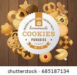100 fresh and tasty homemade...   Shutterstock .eps vector #685187134
