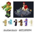 halloween monsters icons set... | Shutterstock .eps vector #685189894