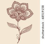 hand drawn abstract lace henna... | Shutterstock .eps vector #68519158