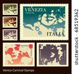venice carnival stamps | Shutterstock .eps vector #68519362