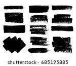 set of black paint  ink brush... | Shutterstock .eps vector #685195885