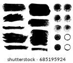 set of black paint  ink brush... | Shutterstock .eps vector #685195924