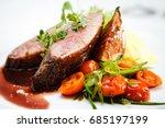 glazed duck fillet  mashed... | Shutterstock . vector #685197199