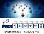 3d rendering computer network   Shutterstock . vector #685201741