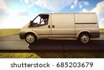 white van traveling on the... | Shutterstock . vector #685203679