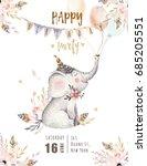 cute baby elephant nursery... | Shutterstock . vector #685205551
