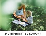 beautiful young mother with a... | Shutterstock . vector #685209949