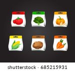 package with fresh vegetables.... | Shutterstock .eps vector #685215931