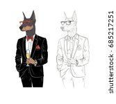 dressy dog with champagne ... | Shutterstock .eps vector #685217251