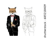 dressy fox with champagne ... | Shutterstock .eps vector #685218409