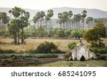 rural scenery with plam trees... | Shutterstock . vector #685241095