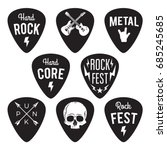 rock fest badges labels set