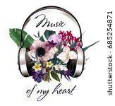 headphones with beautiful... | Shutterstock . vector #685254871