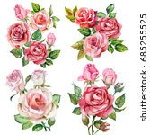 set with watercolor roses... | Shutterstock . vector #685255525