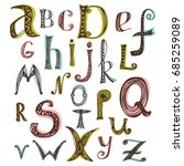 vector hand drawn alphabet... | Shutterstock .eps vector #685259089