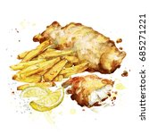 fish and chips. watercolor...   Shutterstock . vector #685271221