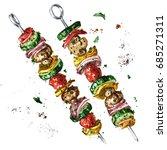 vegetarian kebab. watercolor...   Shutterstock . vector #685271311