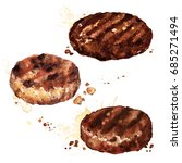 burger patties. watercolor... | Shutterstock . vector #685271494