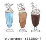 bubble gum milkshake vector | Shutterstock .eps vector #685280047