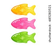 colorful fishes jellies candy... | Shutterstock .eps vector #685283521