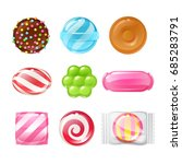 set of sweets on white... | Shutterstock .eps vector #685283791