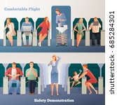 people in airplane horizontal... | Shutterstock .eps vector #685284301