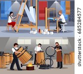 craftspeople at work 2 flat... | Shutterstock .eps vector #685284577