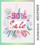 tropical leaves  background.... | Shutterstock .eps vector #685295839
