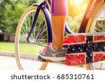 young woman cycling. young... | Shutterstock . vector #685310761