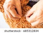 woman sewing teddy bear  revamp ...   Shutterstock . vector #685312834