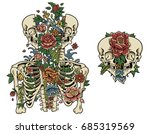 split flora skeleton | Shutterstock .eps vector #685319569