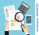 auditor work desk  accounting... | Shutterstock .eps vector #685330729