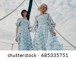 beautiful model on a yacht... | Shutterstock . vector #685335751