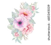watercolor hand painted flower... | Shutterstock . vector #685345039