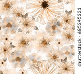 seamless flowers pattern with... | Shutterstock . vector #685345321