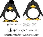 cute hipster penguin baby... | Shutterstock .eps vector #685348909