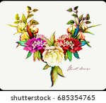 floral ornament. flowers roses... | Shutterstock .eps vector #685354765