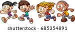 cartoon running kids. vector... | Shutterstock .eps vector #685354891