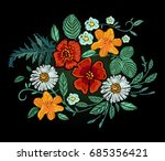 embroidery design. red poppies... | Shutterstock . vector #685356421