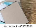 color pencil and sketchbook on... | Shutterstock . vector #685357201