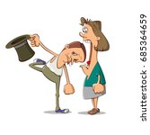 brave husband put his head into ... | Shutterstock .eps vector #685364659