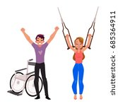 farewell to crutches and...   Shutterstock .eps vector #685364911