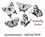 set of hand drawn butterflies...   Shutterstock .eps vector #685367959